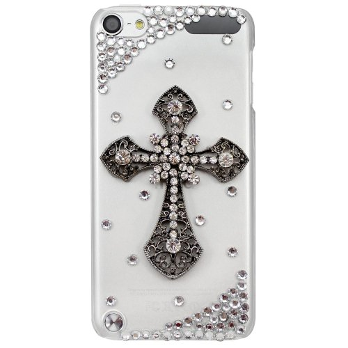 Generation Case Crystal Rubber (STENES iPod Touch 5 Case - Glamour Crystal 3D Handmade Sparkle Glitter Black Diamond Cross Gem Rhinestone Bling iPod Case Clear Cover for iPod Touch 5th Generation Retro Bowknot Anti Dust Plug)