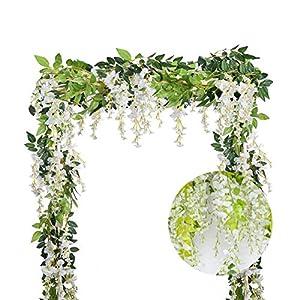 Dyna-Living 4Pcs 6.6Ft/Piece Artificial Flowers Silk Wisteria Garland Artificial Wisteria Vine Rattan Silk Hanging Flower for Home Garden Outdoor Ceremony Wedding Arch Floral Decor (White) 2