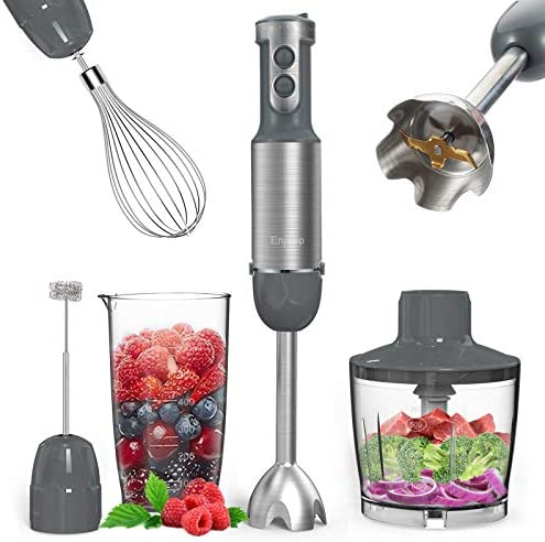 Immersion Blender Handheld Pro, 5-in-1 800W Small Hand Blenders Immersion Emulsion, Smart Stick 12 Speed and Turbo Mode, 4 Titanium Steel Blades, with Whisk, Chopper/Grinder Bowl/Beaker/Measuring Cup