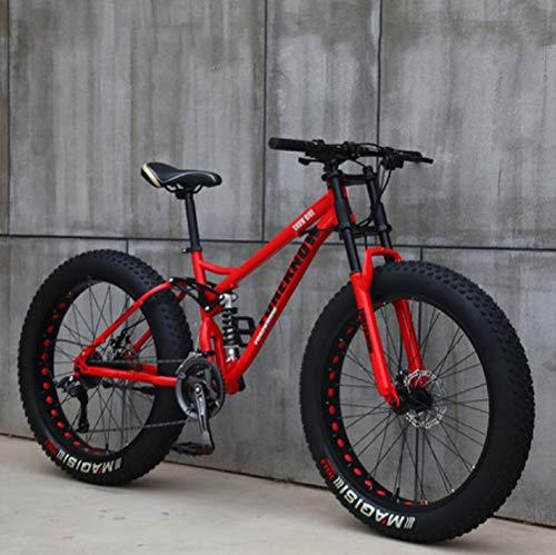 26 inch Mountainbike, 24-Speed Mountainbike voor Volwassenen, Carbon Stalen Frame, Full Suspension Schijfremmen Hardtail…