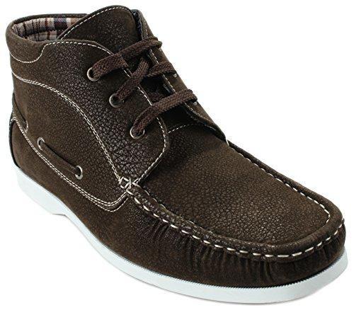 Hommes Andy93 Lacets Haut Haut 3-eye Leatherette Daim Chaussures Sneaker Marron
