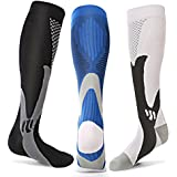 3 Pairs Compression Socks Men Women Athletic Socks for Run, Basketball, Soccer, Travel, 20-30 mmhg