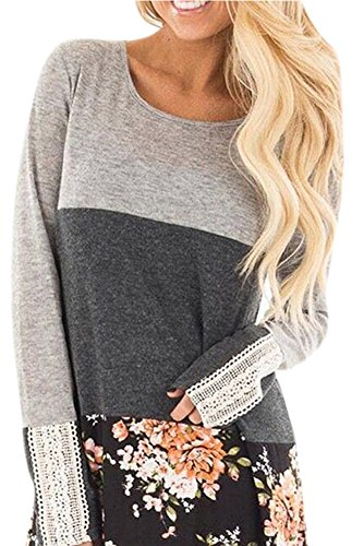 Womens Floral Print Long Sleeve Color Block Blouse Casual Back Lace Cotton Tunic Tops Black XL