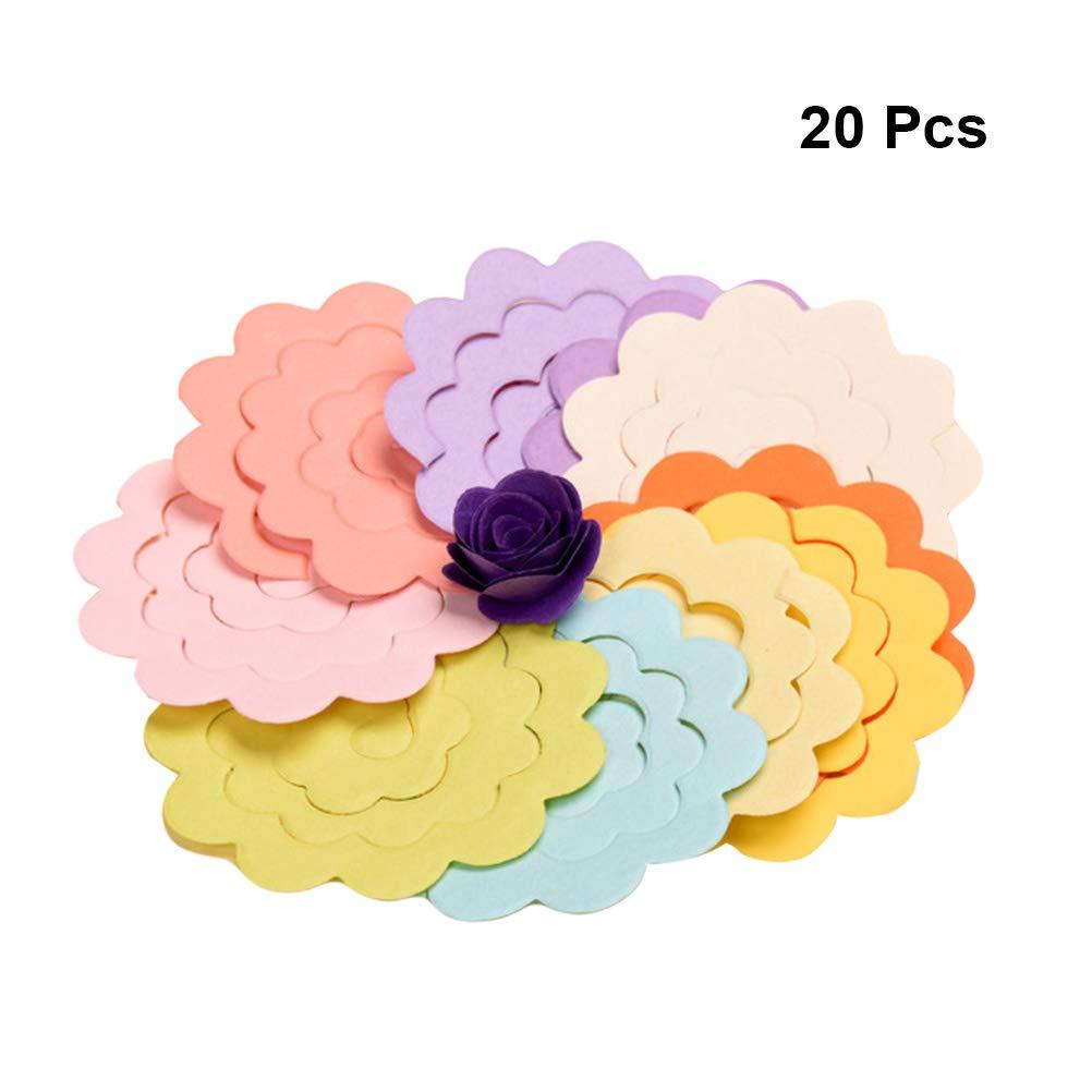Healifty 20PCS Fogli di carta origami fatti a mano fiore rosa quilling di carta per i progetti di artigianato arti fai da te