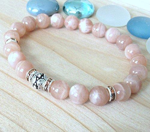 Moonstone bracelet with tribal guru bead, sunstone moonstone, High quality beaded bracelet, Inner Growth and New beginnings