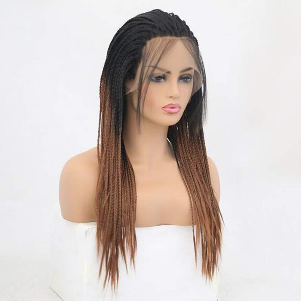 wig Natural Recto Sintético Encaje Frente Micro Trenzas Peluca Ombre Negro A Marrón Trenzado A Mano Trenzado Resistente Pelucas para Mujeres Negras Uso ...