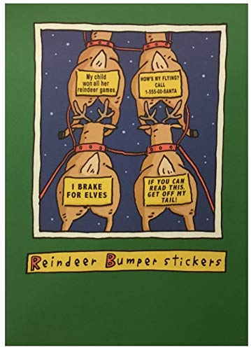 Carlton Toilet - (12) Humorous Reindeer Bumper Stickers Illustrated Holiday Cards - Red Unlined Envelopes - Merry Christmas