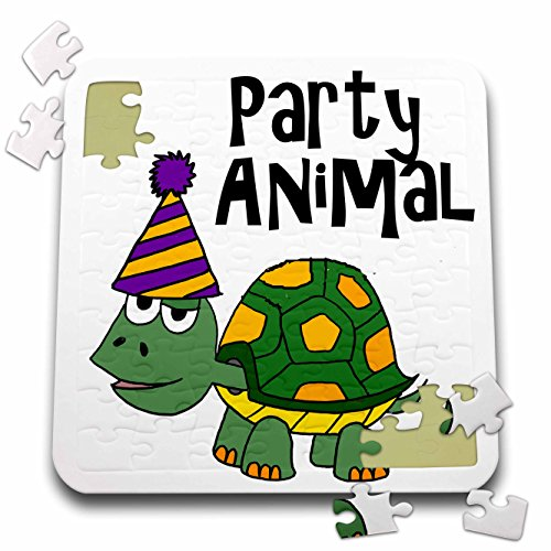 All Smiles Art Funny - Funny Cute Turtle Party Animal with Party Hat - 10x10 Inch Puzzle (pzl_260843_2) by 3dRose