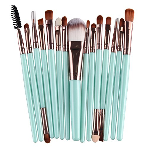 Sankuwen 15PCs Makeup Brush Set Tools Toiletry Kit (Green-Coffee)