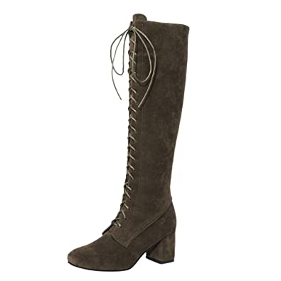 153f3a26e7fe5 Susenstone Bottes A Talon Femme à Lacets CompenséEs en Daim Chaussures A  Talon Hiver Le Genou