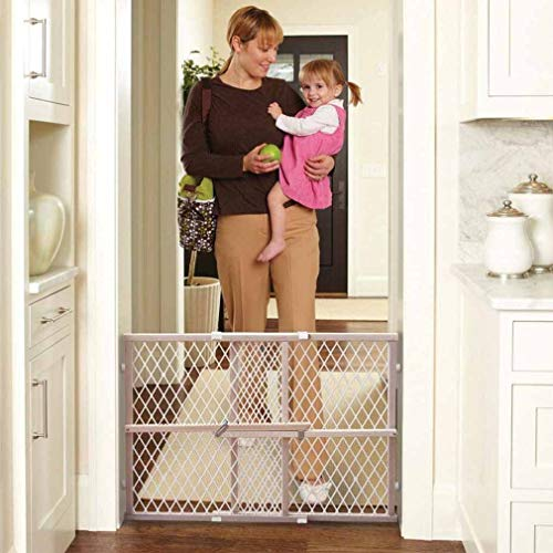 Quiet Baby Gate Wood Frame Diamond Mesh Gate Walls Will Remain Damage-Free with No-Mar Rubber Bumpers That Keep The Safety Gate in Place Without Marking Walls.