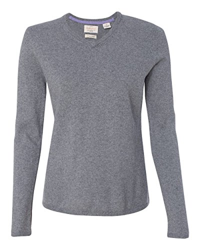 Cashmere Vintage Sweater (Weatherproof W151363 Vintage Women's Cotton Cashmere V-Neck Sweater Medium Grey Heather L)