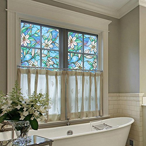 Outlet Fancy Fix Decorative Window Film Vinyl No Glue Frosted Privacy Film  Static Cling Stained