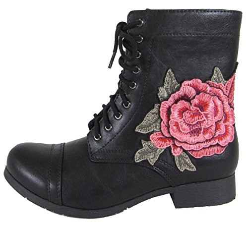 Soda Women's Embroidered Rose Floral Combat Military Boot - stylishcombatboots.com