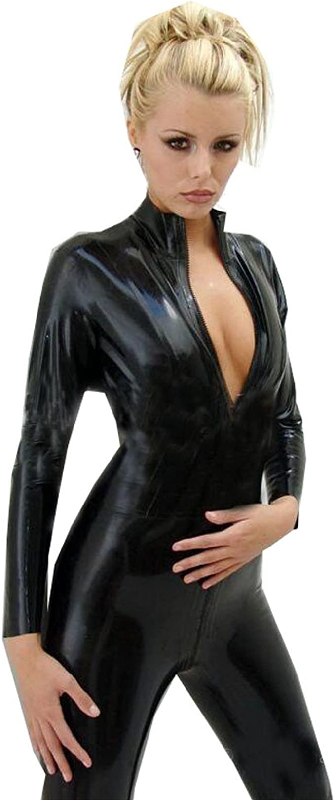 Details about  /Catsuit Polo Neck Keyhole Back Velvet No Sleeves #LISA
