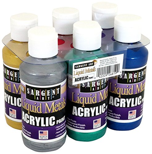 Sargent Art 22-6819 Liquid Metals 4 oz Metallic Acrylic Paints, 6 - Metallic Paint Blue