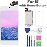 iPhone 5 Screen Replacement Home Button, Arotech 4.0 inch Full Assembly LCD Display Digitizer Touch Screen Repair Tool Kit Tempered Glass (i5 White)