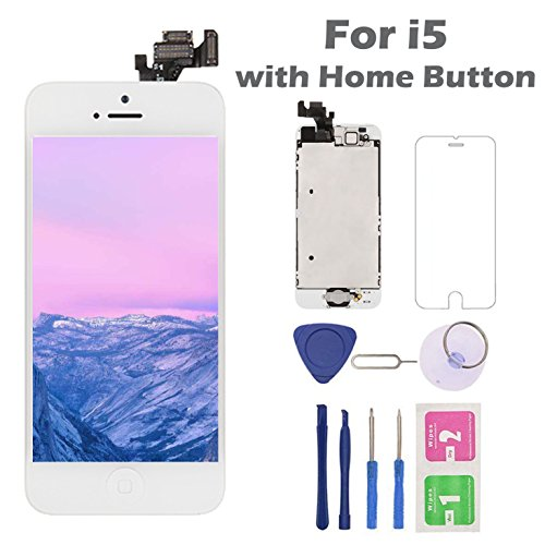 (For iPhone 5 Screen Replacement Home Button, Arotech 4.0 inch Full Assembly LCD Display Digitizer Touch Screen Repair Tool Kit Tempered Glass (i5 White))