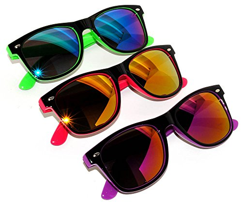 Retro 80's 2 Tone Frame Vintage Sunglasses Full Mirror Lens 3 - 3 Pack Sunglasses