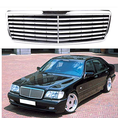 MotorFansClub W140 Grille Black Chrome Front Hood Bumper for sale  Delivered anywhere in USA