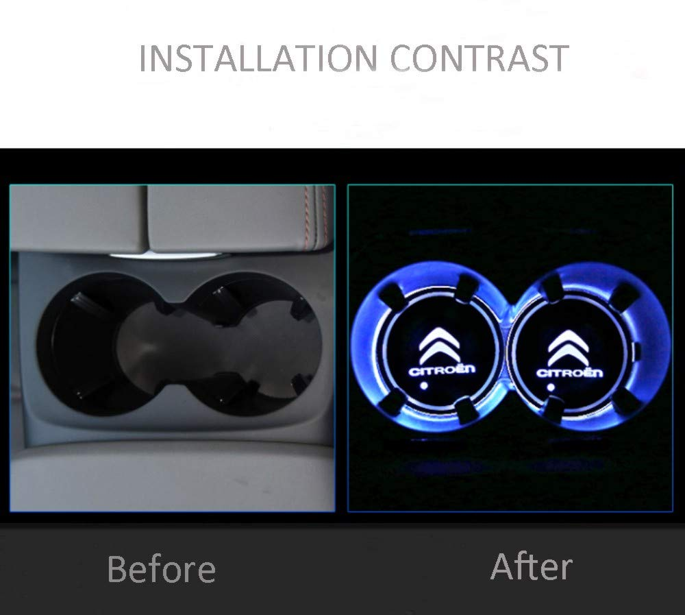 fit bmw-m Auto Sport 2PCS LED Cup Holder Mat Pad Coaster with USB Rechargeable Interior Decoration Light