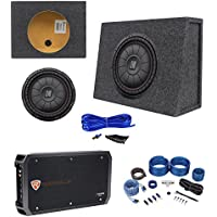 Kicker 43CVT124 COMPVT 800w 12 Shallow Subwoofer+Sealed Box+Amplifier+Wire Kit