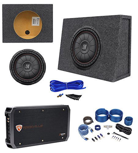 12' 400w Subwoofer (Kicker 43CVT124 COMPVT 800w 12 Shallow Subwoofer+Sealed Box+Amplifier+Wire Kit)