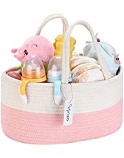 Hinwo Baby Diaper Caddy 3-Compartment Infant Nursery Tote Storage Bin Portable Car Organizer Newborn Shower Gift Basket Cotton Rope with Detachable Divider for Diapers & Wipes