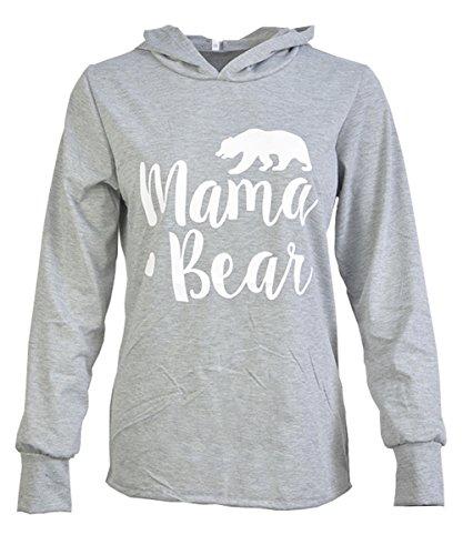 Caat Aycox Womens Mama Bear Printing Long Sleeves Casual Hooded Sweatshirt Grey-M - Care Bears Hoodie