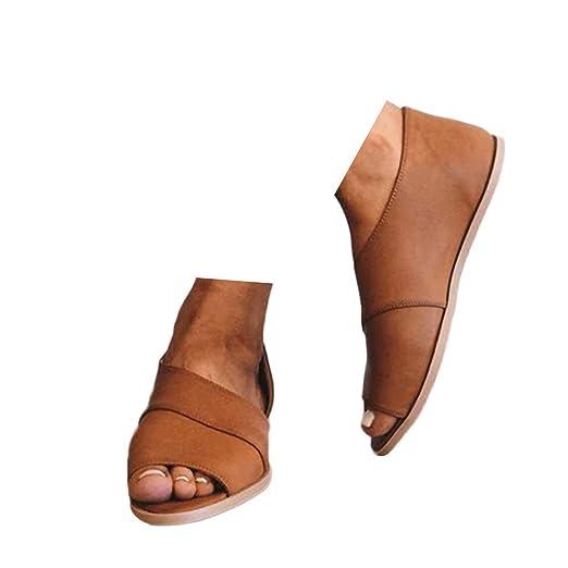 9d7fc61be72ed Amazon.com: Veodhekai Womens Flats Sandals Retro Peep Toe Fish Mouth ...