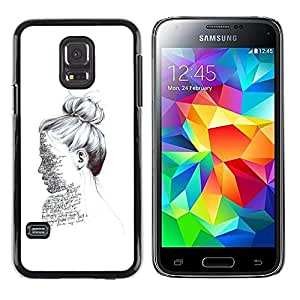 Be Good Phone Accessory // Dura Cáscara cubierta Protectora Caso Carcasa Funda de Protección para Samsung Galaxy S5 Mini, SM-G800, NOT S5 REGULAR! // ink portrait reading writer whi