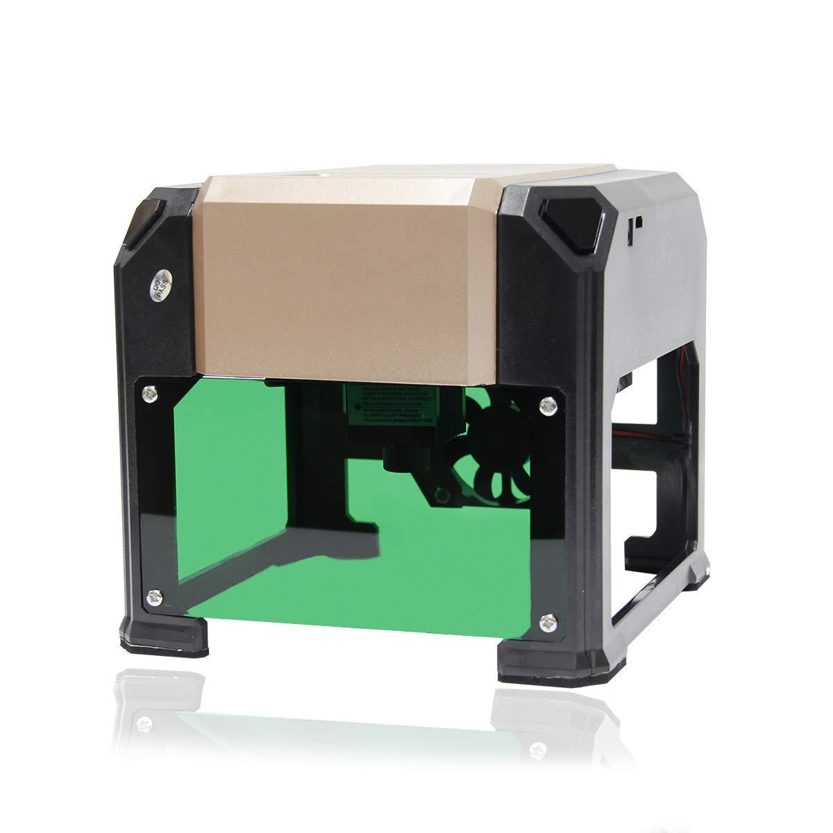 Wisamic DIY Lasergravurmaschine Laser Engraver Printer - 3000 mW Mini Drucker USB Wireless Machine fü r Kunst Handwerk Wissenschaft , Carver Grö ß e 80 x 80mm