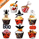 48 Pcs Halloween Cupcake Toppers Wrappers - Halloween Party Supplies...