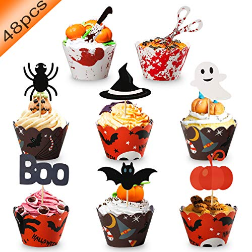 48 Pcs Halloween Cupcake Toppers Wrappers - Halloween Party Supplies Cake Decorations