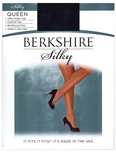 Queen Silky Berkshire Sheer (Berkshire Women's Plus-Size Queen Silky Sheer Control Top Pantyhose 4489,Navy, 7X)