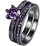 AWLY Jewelry Women 2pcs 18k Black Gold Ring Set Round Amethyst Purple CZ Wedding Band for Bridal Fiancee Size 8