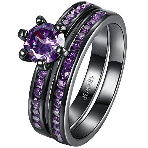 AWLY Jewelry Women 2pcs 18k Black Gold Ring Set Round Amethyst Purple CZ Wedding Band for Bridal Fiancee