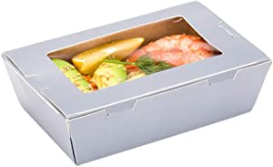 Cafe Vision 21 oz Gray Paper Take Out Container - Hinge Lock - 6 1/4