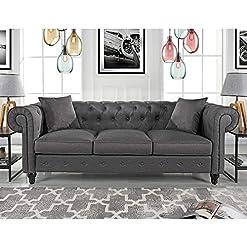 Farmhouse Living Room Furniture Divano Roma Furniture Classic Large Sofa | Light Grey farmhouse sofas and couches