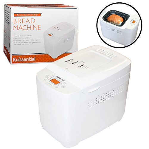 Kuissential 2-Pound Programmable Bread Machine w/ Auto Fruit and Nut Dispenser, 13 Settings and 13-Hour Delay Timer