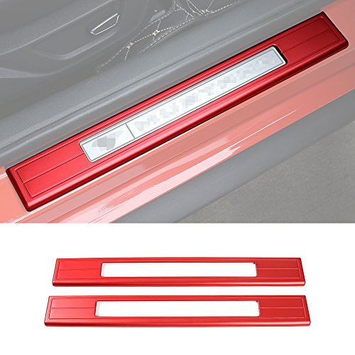 Mustang Sill Plates (Aluminum alloy hollow out Pedal door sill protecter Guard pedal for Ford Mustang 2015 U (Red))