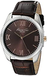 Kenneth Cole New York Men's 10019681 Silver-Tone Watch with Brown Dial and Brown Strap