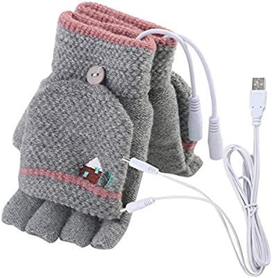 Mens Womens USB Heated Gloves Mitten USB Hand Warmers Winter Warm Full Finger and Half Fingerless Warm Hand Laptop USB Heating Gloves
