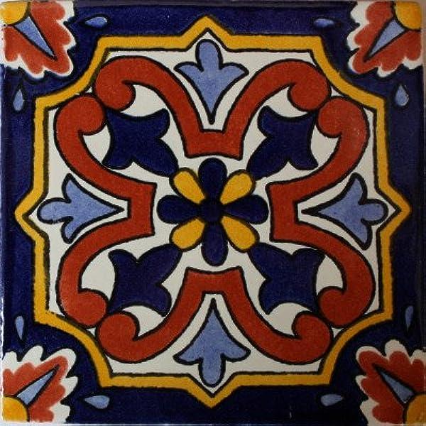 Fine Crafts Imports 3x3 16 pcs Black Talavera Mexican Tile