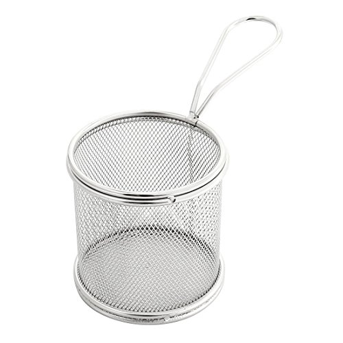 uxcell Stainless Steel Cylinder French Fries Circle Oil Sieve Strainers Fry Basket Frame