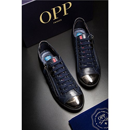 OPP Mens Lace-Up Casual Shoes In Leather 1819-1blue gMOwEdtmV