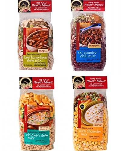 4 Frontier Soups Hearty Meals for Winter: Illinois Prairie Corn Chowder Mix, Colorado Campfire Chicken Stew Mix, Michigan Ski Country Chili Mix, and Dakota Territory Beef Barley Bean Stew Mix