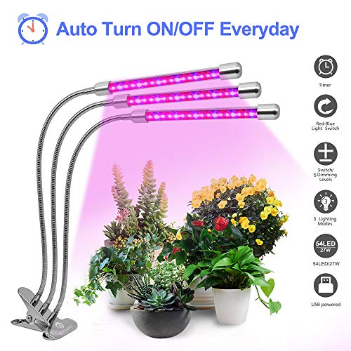 Plant Grow Light with Timing Function, CANAGROW 27W 54 LED Plant Grow Lamps for Indoor Plants, 3 Head Timing Grow Light, 3/9/12H Timer, 5 Dimmable Levels, 360 Degree Adjustable Gooseneck