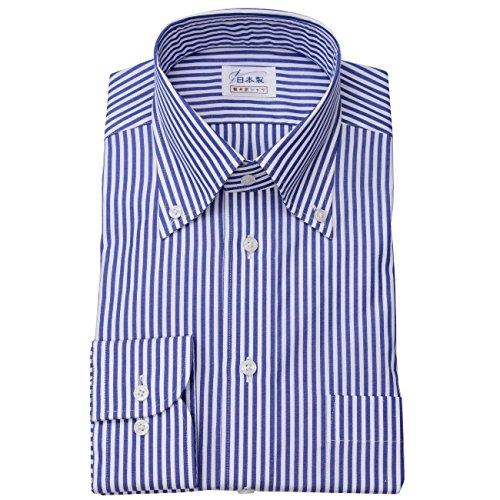 ワイシャツ メンズ長袖(ドレスシャツ)ボタンダウン 80番手双糸 ネイビーロンドンストライプ 軽井沢シャツ [A10KZB407] B011BKP0RA 首回り:54 裄丈:89|大きめ型 大きめ型 首回り:54 裄丈:89