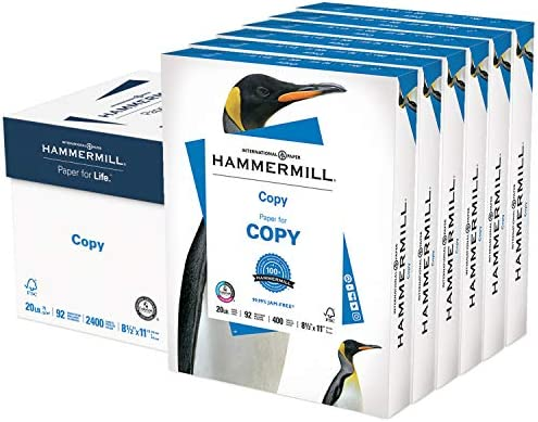 Hammermill Printer Paper, 20 lb Copy Paper, 8.5 x 11 - 6 Packs (2,400 Sheets) - 92 Bright, Made in america